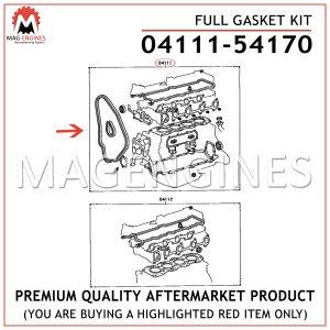 04111-54170 FULL GASKET KIT TOYOTA 2L 2.4 LTR