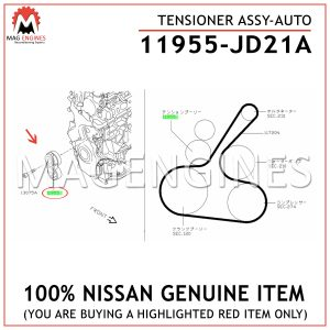 11955-JD21A NISSAN GENUINE TENSIONER ASSY 11955JD21A