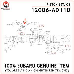 12006-AD110 SUBARU GENUINE PISTON SET, OS 12006AD110