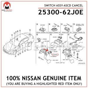 25300-62J0E-NISSAN-GENUINE-SWITCH-ASSY-ASCD-CANCEL-2530062J0E