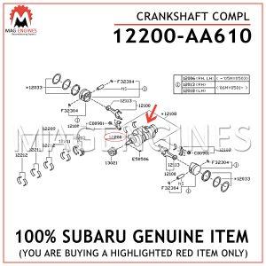 12200-AA610 SUBARU GENUINE CRANKSHAFT FOR NON-TURBO ENGINES 12200AA610