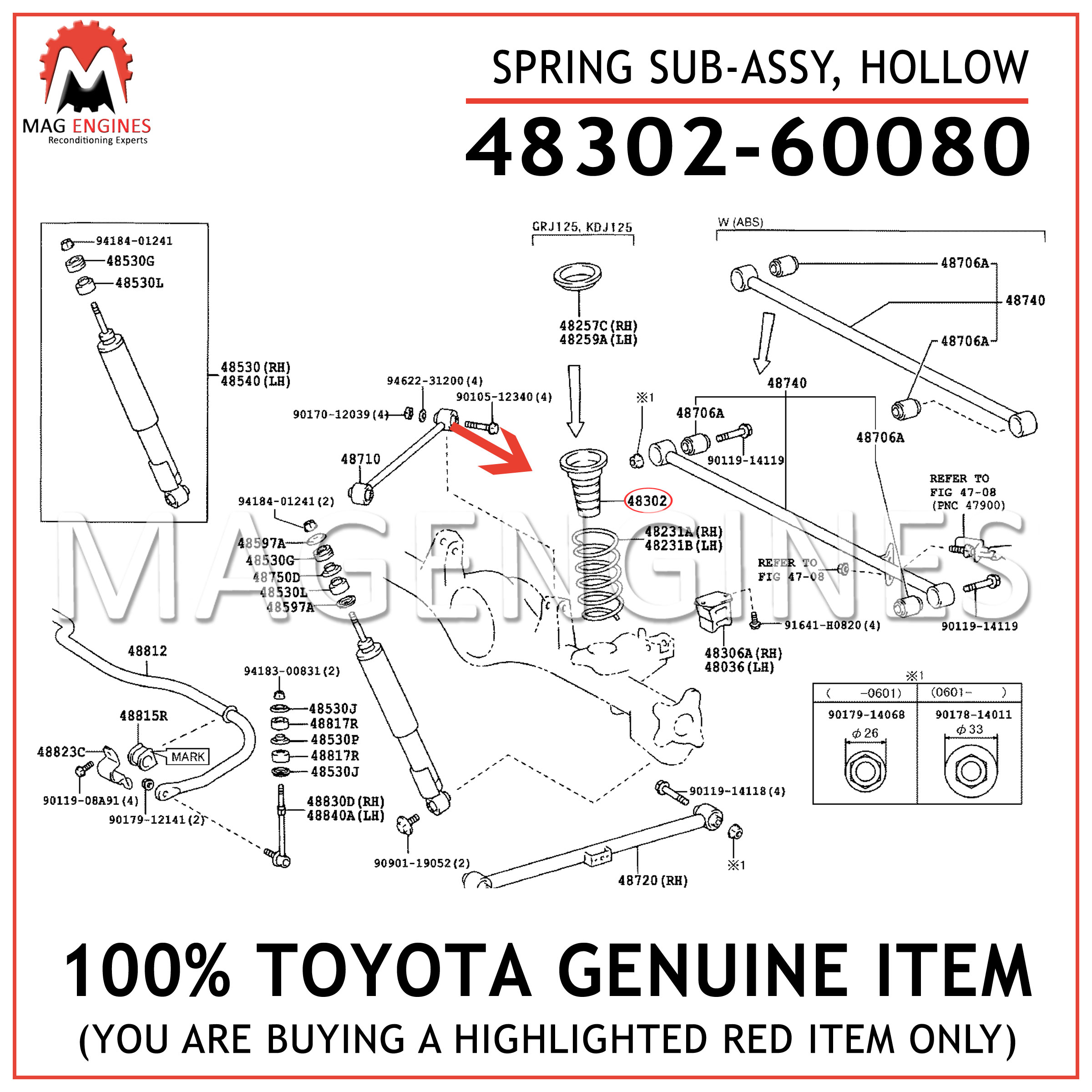 HOLLOW 48302-28010 4830228010 Genuine Toyota SPRING SUB-ASSY
