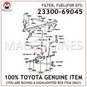 23300-69045 TOYOTA GENUINE FILTER, FUEL(FOR EFI) 2330069045