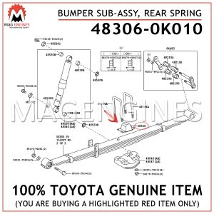 48306-0K010 TOYOTA GENUINE BUMPER SUB-ASSY, REAR SPRING 483060K010