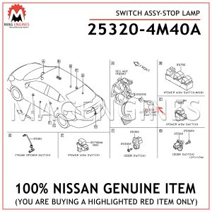 25320-4M40A-NISSAN-GENUINE-SWITCH-ASSY-STOP-LAMP-253204M40A