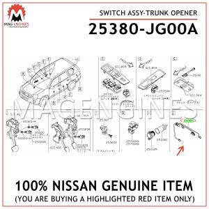 25380-JG00A-NISSAN-GENUINE-SWITCH-ASSY-TRUNK-OPENER-25380JG00A