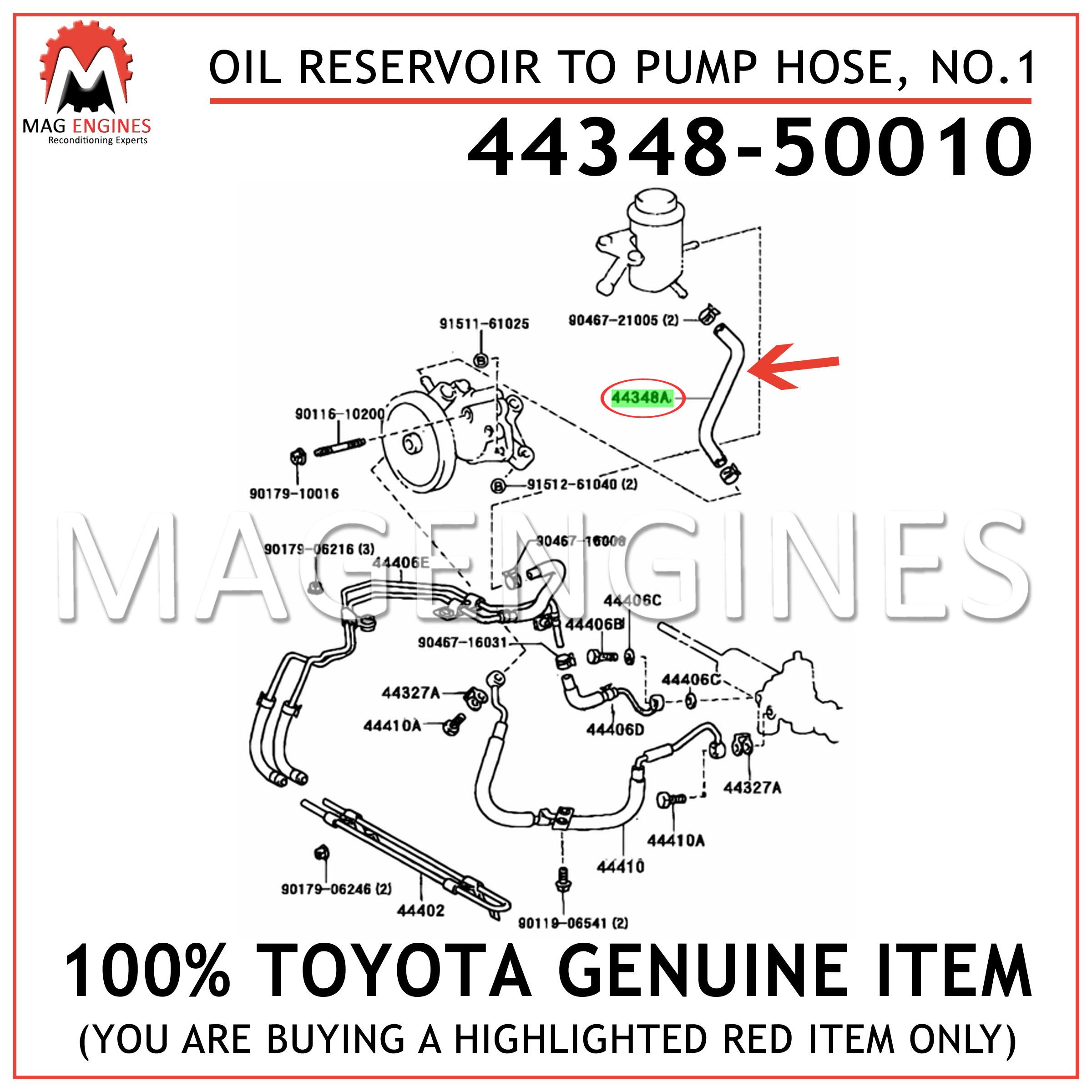 NO.1 4434860400 OEM OIL RESERVOIR TO PUMP 44348-60400 GENUINE Toyota HOSE