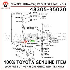 48305-35020 TOYOTA GENUINE BUMPER SUB-ASSY, FRONT SPRING, NO.2 4830535020