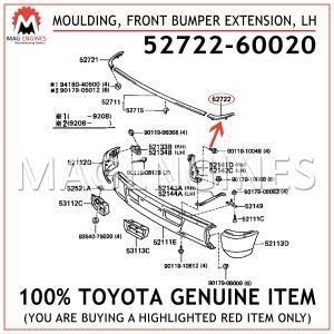 52722-60020 TOYOTA GENUINE MOULDING, FRONT BUMPER EXTENSION, LH 5272260020
