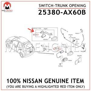25380-AX60B NISSAN GENUINE SWITCH-TRUNK OPENING 25380AX60B