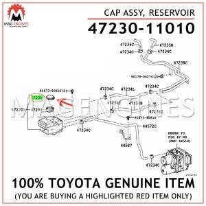 47230-11010 TOYOTA GENUINE CAP ASSY, RESERVOIR 4723011010