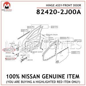 82420-2J00A NISSAN GENUINE HINGE ASSY-FRONT DOOR
