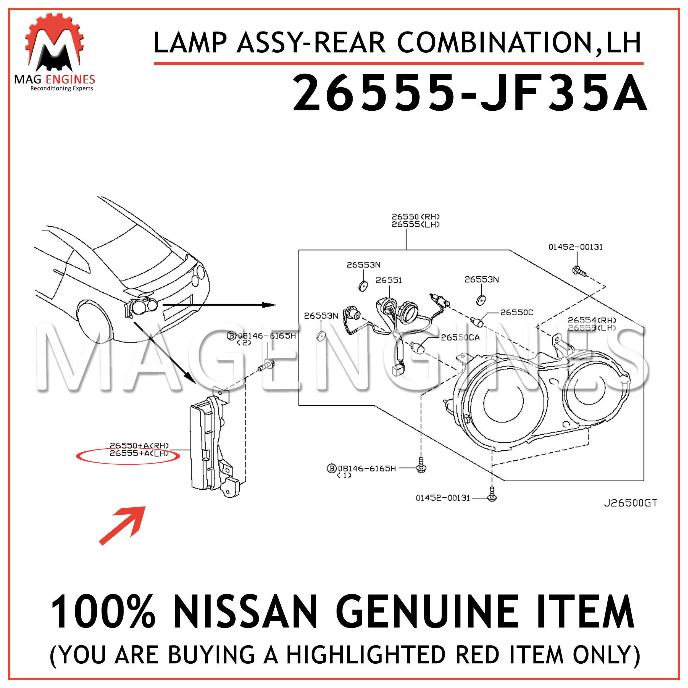 26555JF35A Genuine Nissan LAMP ASSY-REAR COMBINATION,LH 26555-JF35A