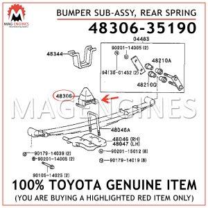 48306-35190 TOYOTA GENUINE BUMPER SUB-ASSY, REAR SPRING 4830635190