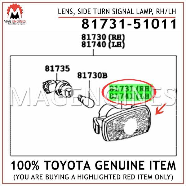 81731-51011 TOYOTA GENUINE LENS, SIDE TURN SIGNAL LAMP, RHLH 8173151011