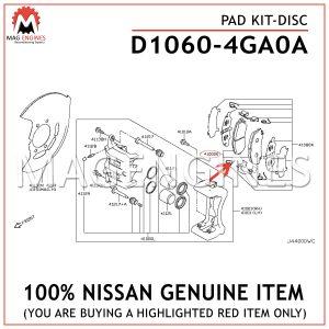 D1060-4GA0A NISSAN GENUINE PAD KIT-DISC