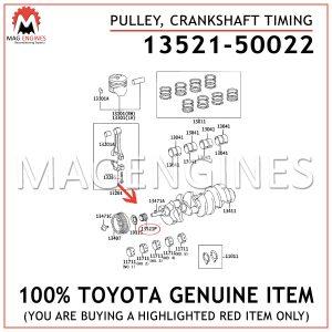 13521-50022TOYOTA GENUINE PULLEY, CRANKSHAFT TIMING 1352150022