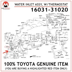 16031-31020 TOYOTA GENUINE WATER INLET SUB-ASSY, W/THERMOSTAT 1603131020