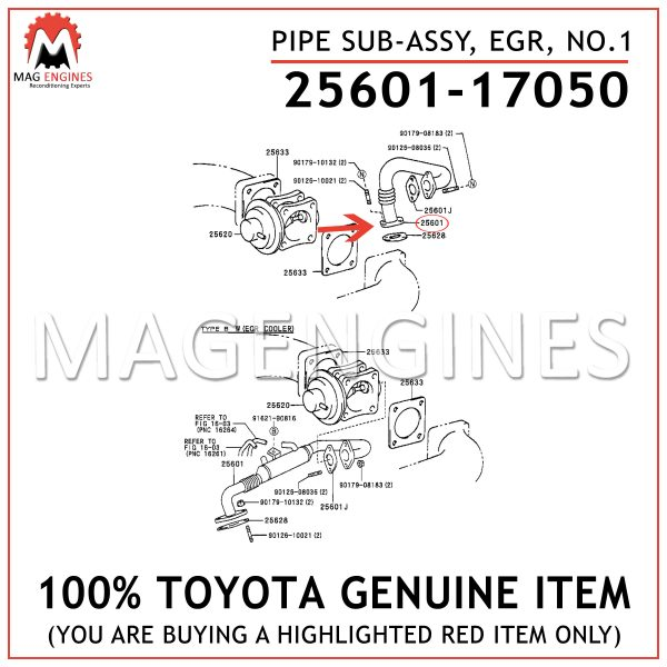 25601-17050 TOYOTA GENUINE PIPE SUB-ASSY, EGR, NO.1 2560117050