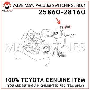 25860-28160TOYOTA GENUINE VALVE ASSY, VACUUM SWITCHING, NO.1 2586028160