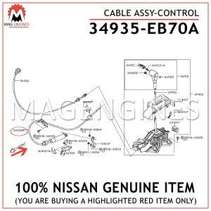 34935-EB70A NISSAN GENUINE CABLE ASSY-CONTROL 34935EB70A