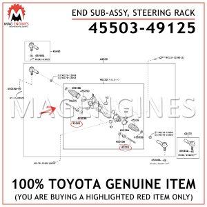 45503-49125 TOYOTA GENUINE END SUB-ASSY, STEERING RACK 4550349125