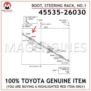 45535-26030 TOYOTA GENUINE BOOT, STEERING RACK, NO.1 4553526030