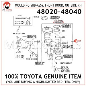 48020-48040 TOYOTA GENUINE MOULDING SUB-ASSY, FRONT DOOR, OUTSIDE RH 4802048040