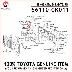 66110-0K011TOYOTA GENUINE HINGE ASSY, TAIL GATE, RH661100K011
