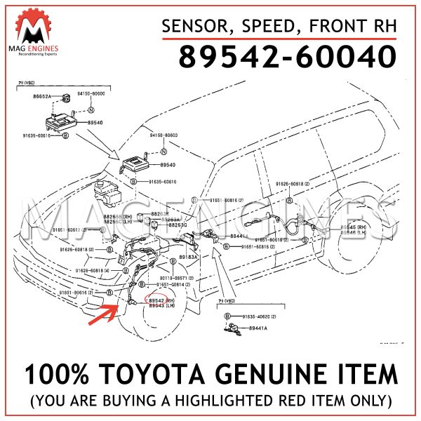 89542-60040 TOYOTA GENUINE SENSOR, SPEED, FRONT RH 8954260040