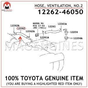 12262-46050 TOYOTA GENUINE HOSE, VENTILATION, NO.2 1226246050
