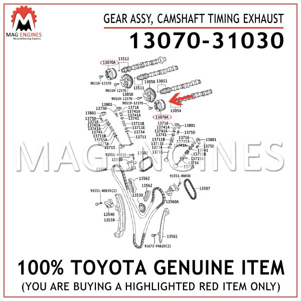 13070-31030 TOYOTA GENUINE GEAR ASSY, CAMSHAFT TIMING EXHAUST 1307031030