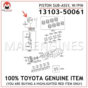 13103-50061 TOYOTA GENUINE PISTON SUB-ASSY, W/PIN 1310350061