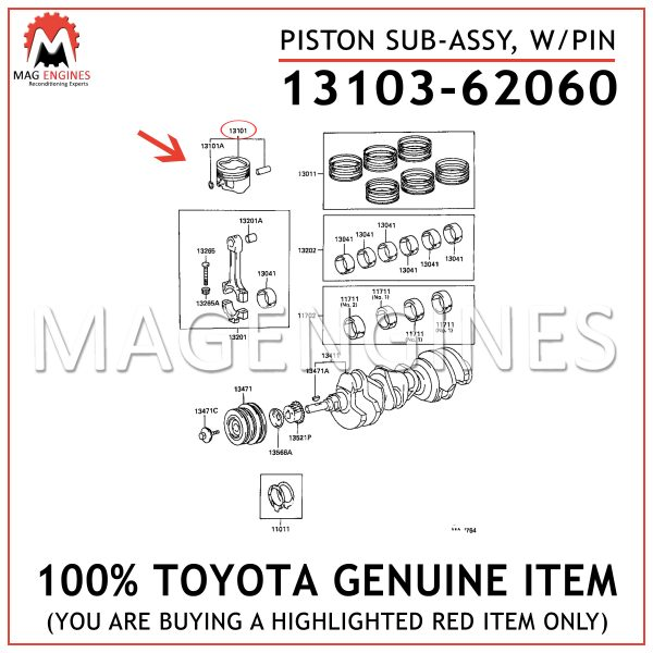 13103-62060 TOYOTA GENUINE PISTON SUB-ASSY, W/PIN 1310362060