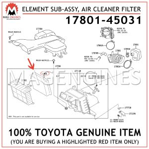 17801-45031 TOYOTA GENUINE ELEMENT SUB-ASSY, AIR CLEANER FILTER1780145031