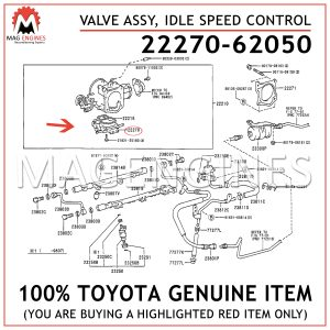 22270-62050 TOYOTA GENUINE VALVE ASSY, IDLE SPEED CONTROL(FOR THLOTTLE BODY) 2227062050