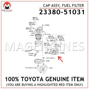 23380-51031 TOYOTA GENUINE CAP ASSY, FUEL FILTER 2338051031