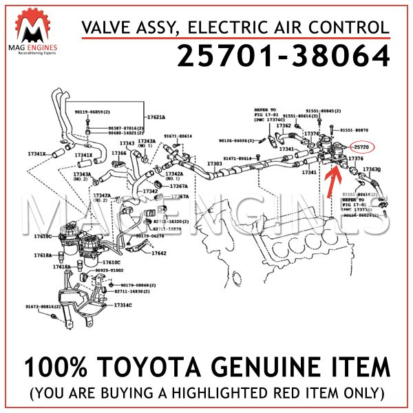 25701-38064 TOYOTA GENUINE VALVE ASSY, ELECTRIC AIR CONTROL 2570138064
