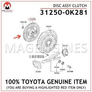 31250-0K281 TOYOTA GENUINE DISC ASSY CLUTCH 312500K281