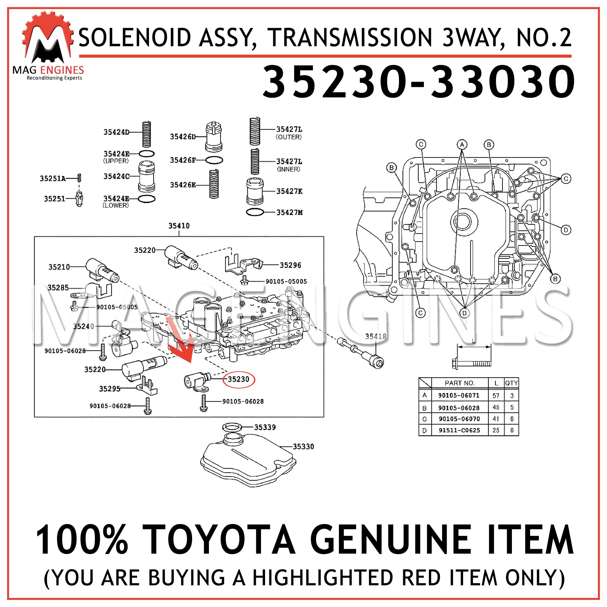 Genuine Lexus GS LS IS SC 35230-30010 3 Way Valve Transmission Solenoid No 2 OEM