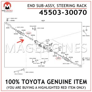 45503-30070 TOYOTA GENUINE END SUB-ASSY, STEERING RACK 4550330070