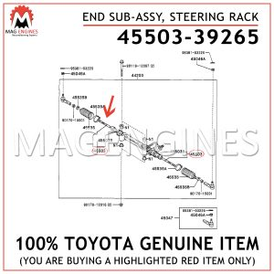 45503-39265TOYOTA GENUINE END SUB-ASSY, STEERING RACK 4550339265