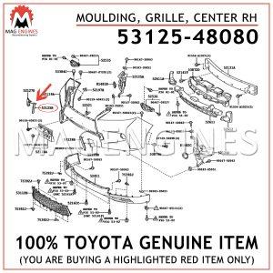 53125-48080 TOYOTA GENUINE MOULDING, RADIATOR GRILLE, CENTER RH 5312548080
