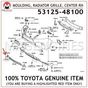 53125-48100 TOYOTA GENUINE MOULDING, RADIATOR GRILLE, CENTER RH 5312548100