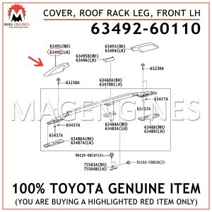 63492-60110 TOYOTA GENUINE COVER, ROOF RACK LEG, FRONT LH 6349260110