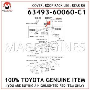 63493-60060-C1 TOYOTA GENUINE COVER, ROOF RACK LEG, REAR RH 6349360060C1