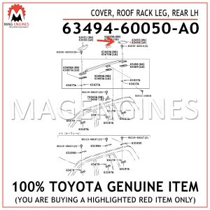 63494-60050-A0 TOYOTA GENUINE COVER, ROOF RACK LEG, REAR LH 6349460050A0