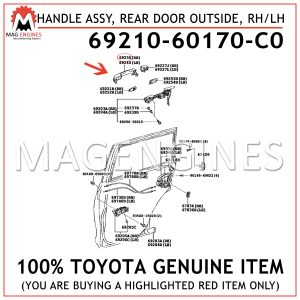 69210-60170-C0TOYOTA GENUINE HANDLE ASSY, REAR DOOR OUTSIDE, RH/LH 6921060170C0