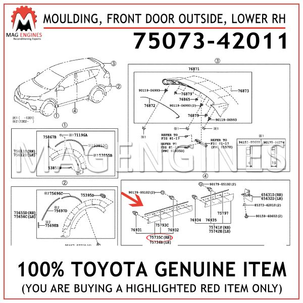 75073-42011 TOYOTA GENUINE MOULDING, FRONT DOOR OUTSIDE, LOWER RH 7507342011