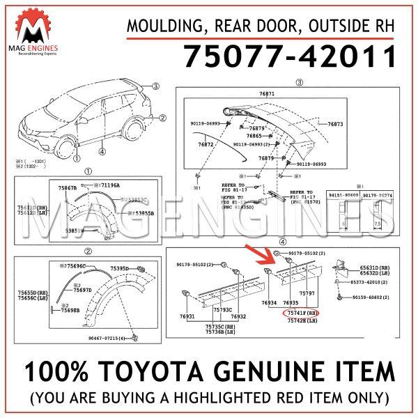 75077-42011TOYOTA GENUINE MOULDING, REAR DOOR, OUTSIDE RH 7507742011